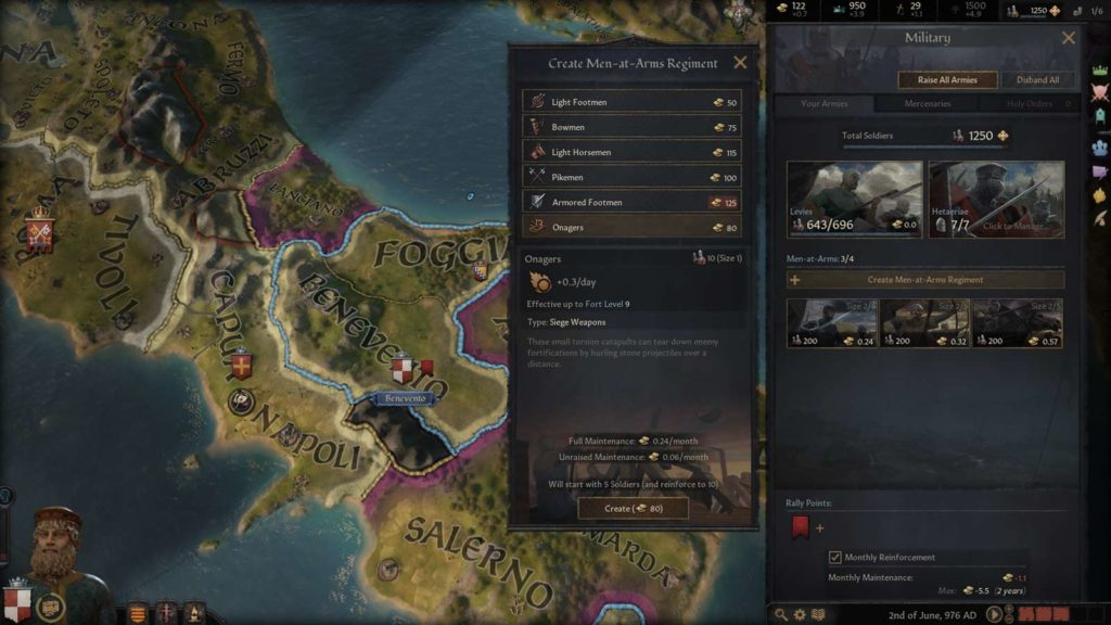 Reclutamento delle truppe in Crusader Kings III