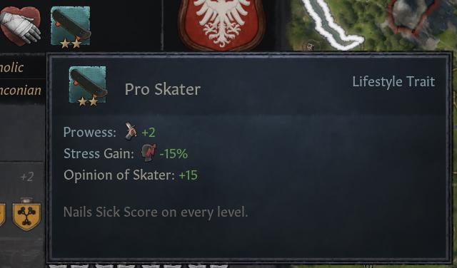 Il tratto Pro Skater nella mod di Crusader Kings III che aggiunge gli skateboard