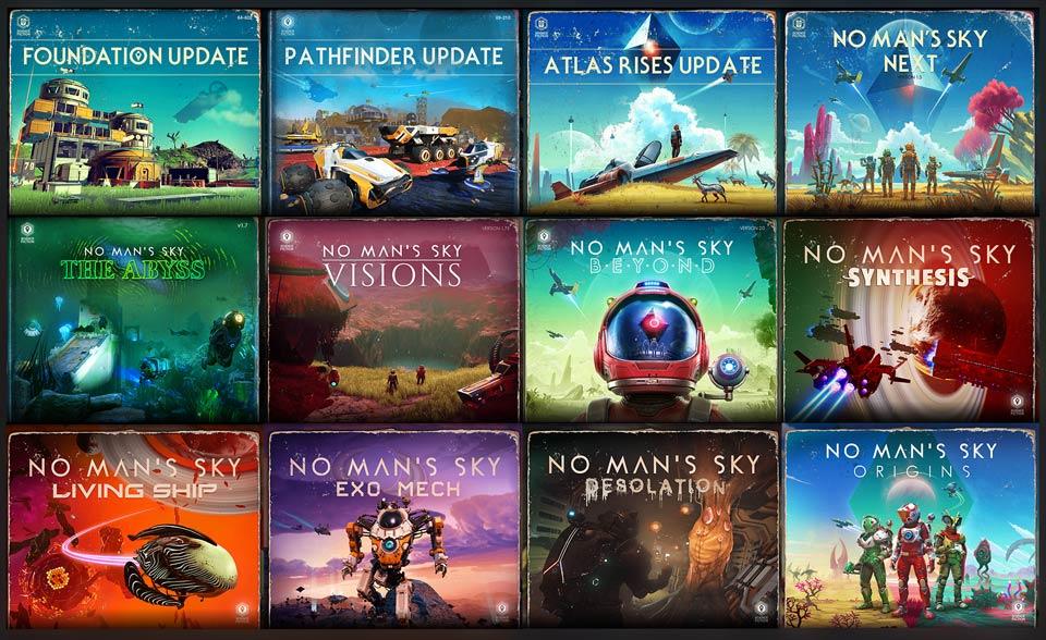 Collage di tutti gli aggiornamenti di No Man's Sky