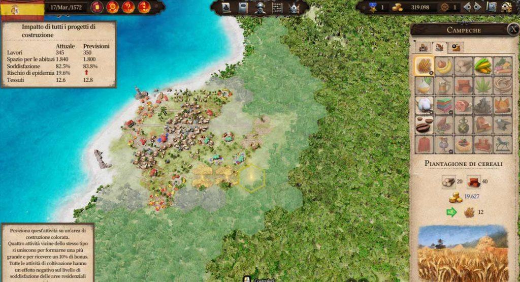 Griglia di costruzione in una colonia di Port Royale 4