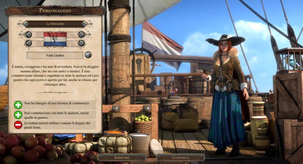 Scelta del personaggio in Port Royale 4