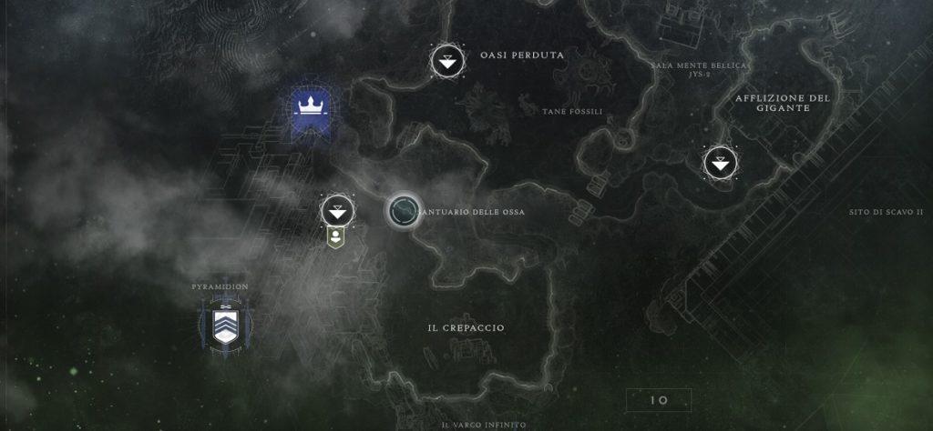 Posizione Santuario delle Ossa in Destiny 2