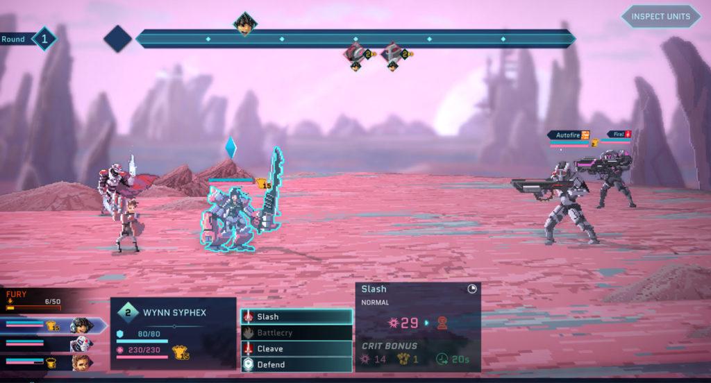 Schermata di combattimento di Star Renegades