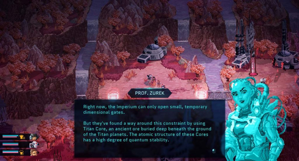 Un personaggio di Star Renegades spiega la minaccia dell'Imperium