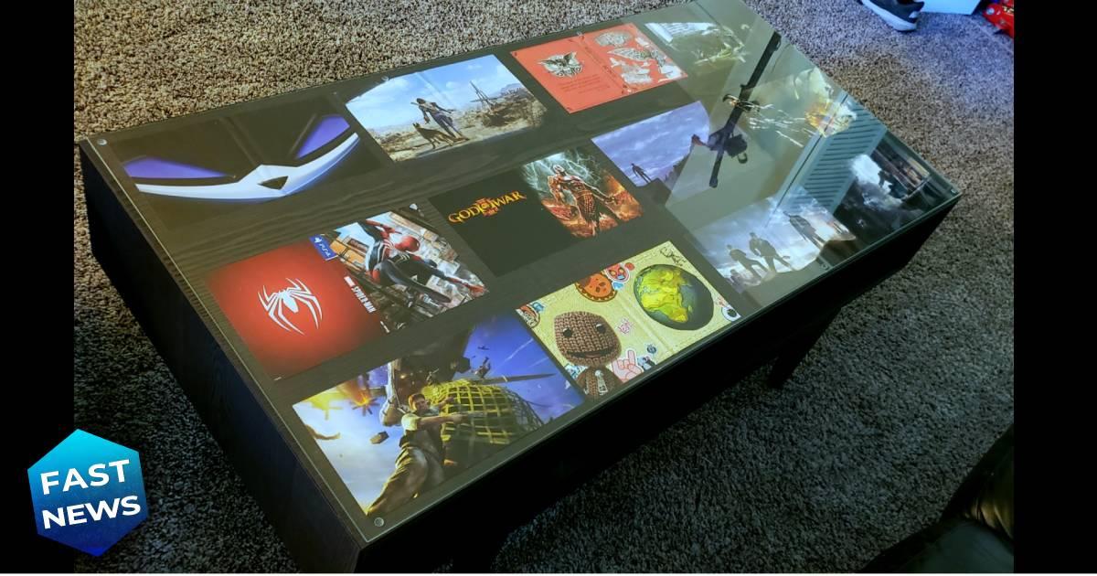 tavolino da gaming, tavolino gaming con confezioni videogiochi, arredare casa con videogiochi