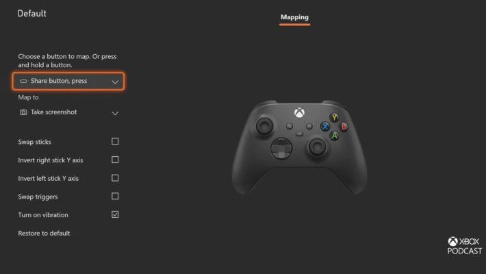 Schermata di mapping dei comandi dell'Xbox