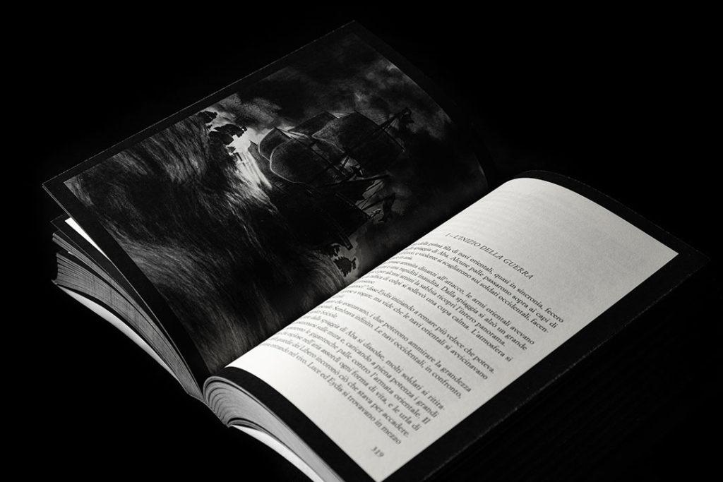 Una delle illustrazioni in scala di grigi realizzate da Valerio Giovine