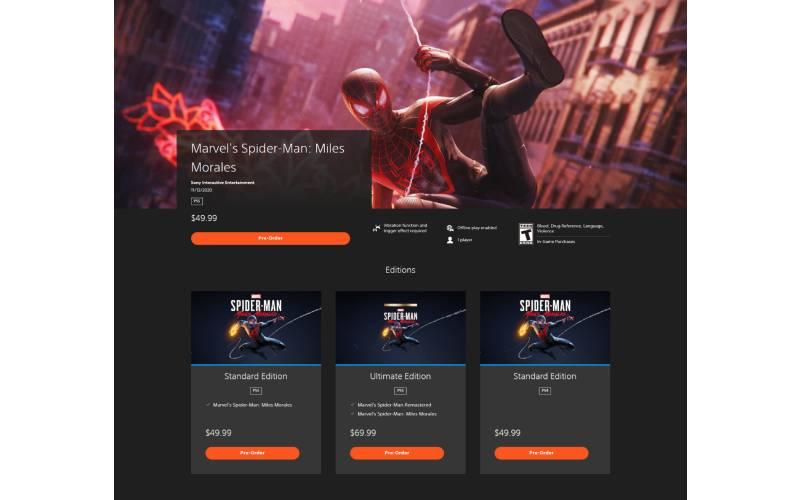 PlayStation Store, nuovo PlayStation Store, PlayStation 5, Sony Computer entertainment, Marvel's Spider-Man: Miles Morales, Spider-Man: Miles Morales preorder