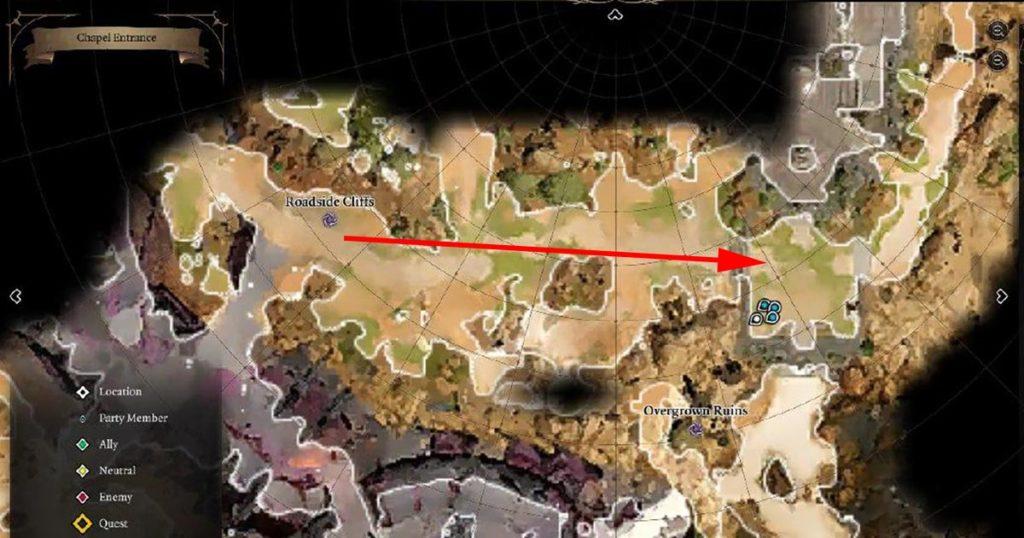 Mappa per trovare la Cripta Umida