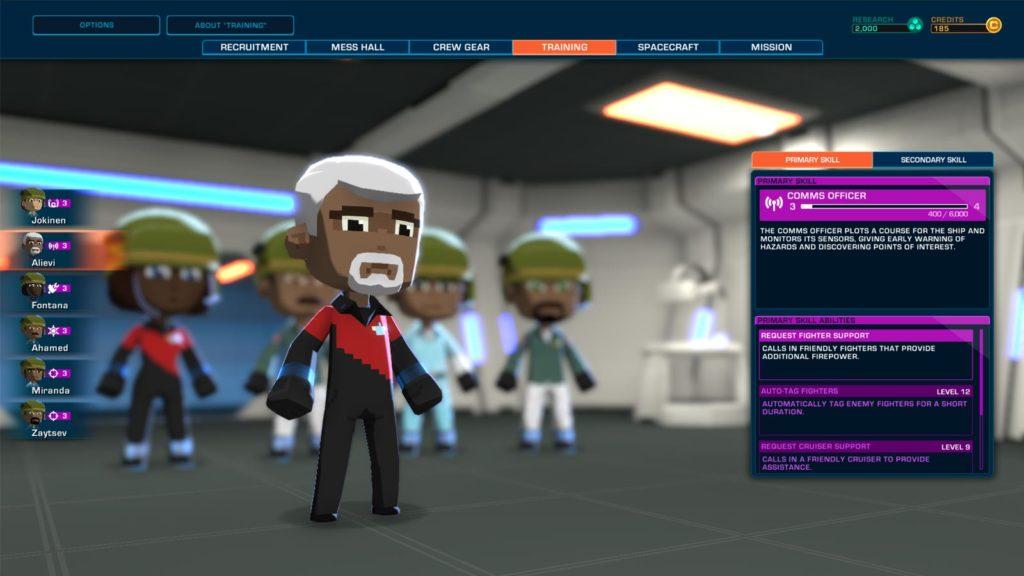 I personaggi di Space Crew possono imparare nuove abilità quando salgono di livello