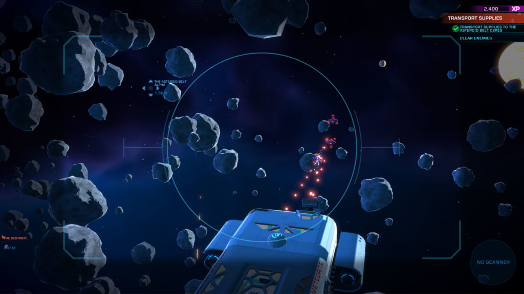La telecamera di Space Crew manovrata dal giocatore per agganciare i bersagli in combattimento