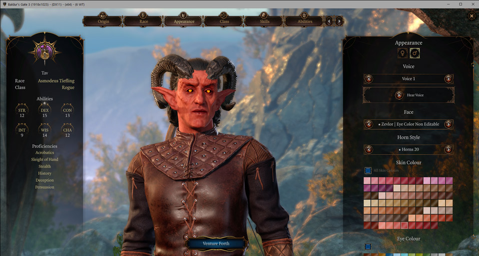 Un personaggio di Baldur's Gate 3 creato con una mod