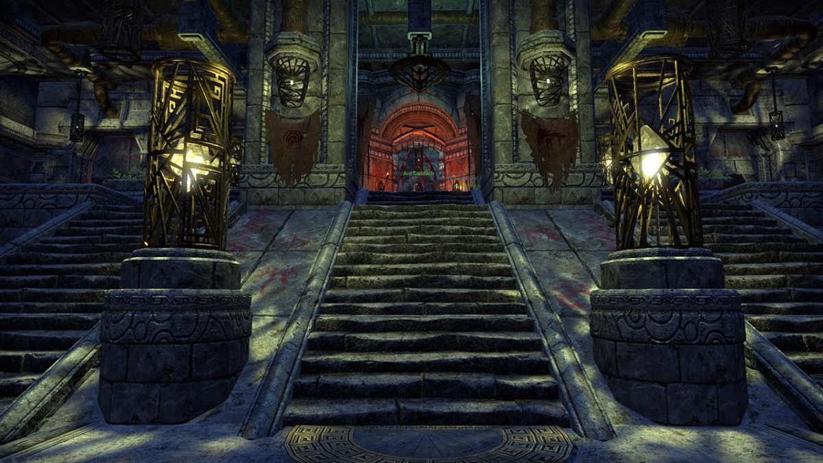La gradinata che porta al trono del sovrano Ard Caddach nel suo palazzo a Markarth, nel Reach