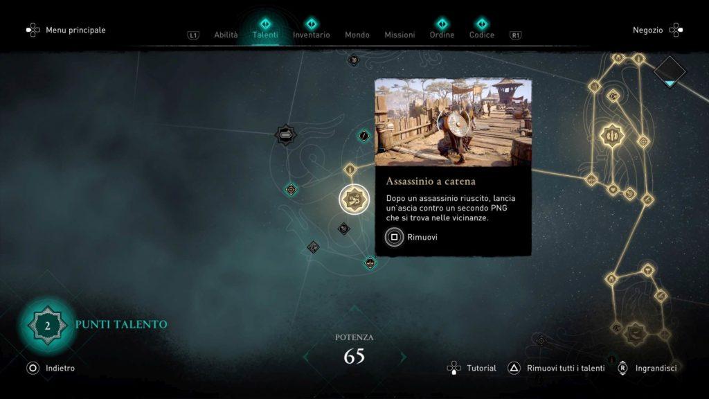 Assassin's Creed Valhalla albero talenti assassinio a catena