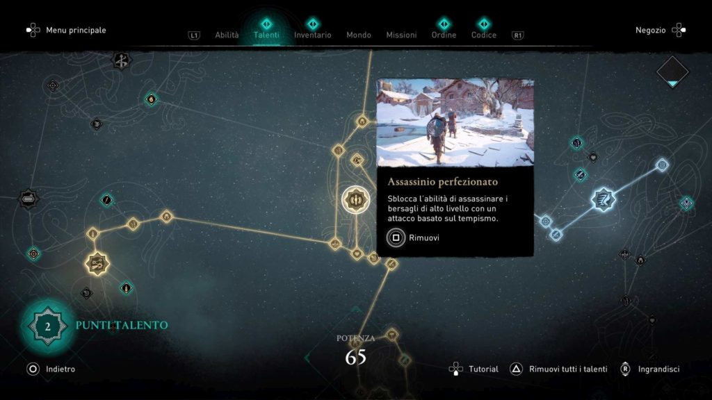 Assassin's Creed Valhalla albero talenti assassinio perfezionato