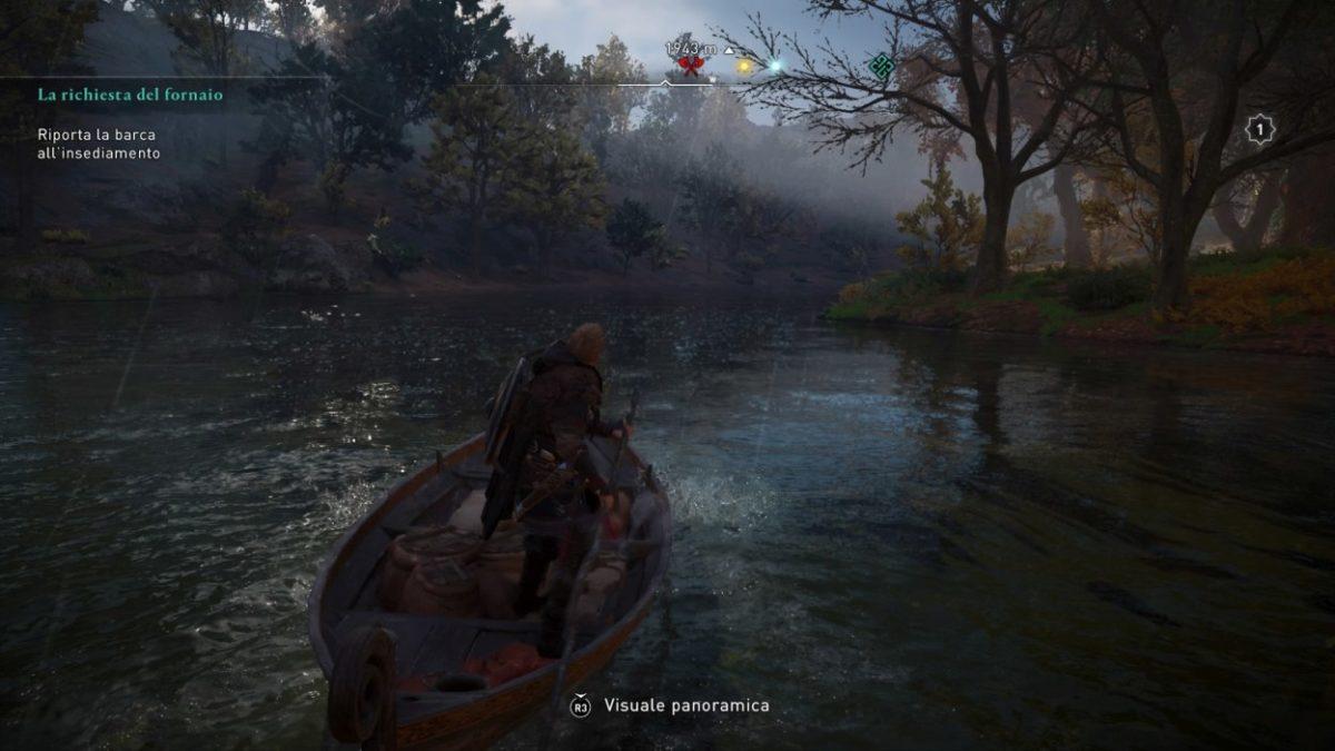 Assassin's Creed Valhalla nagigazione con la barca