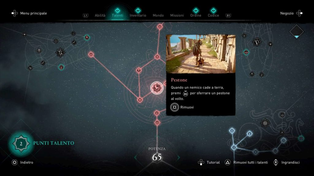 Assassin's Creed Valhalla albero talenti pestone