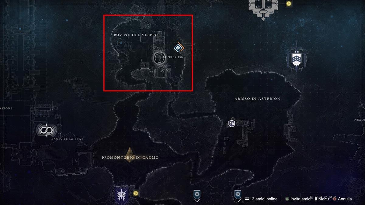 Posizione del Bunker E15 su Europa