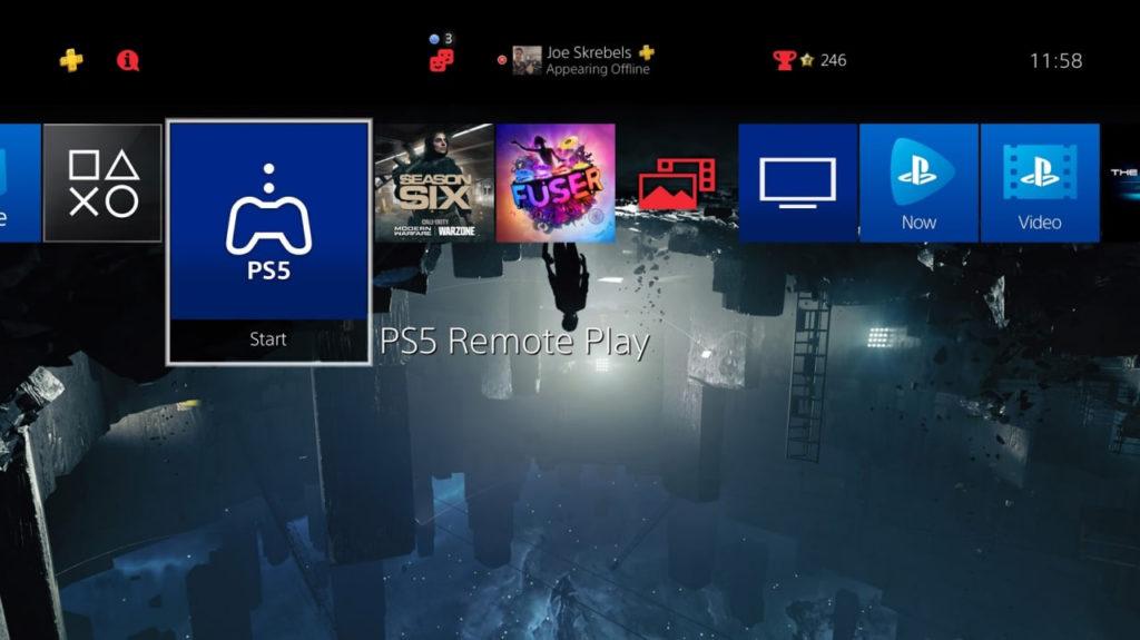 L'app PS5 Remote Play nella dashboard di PS4