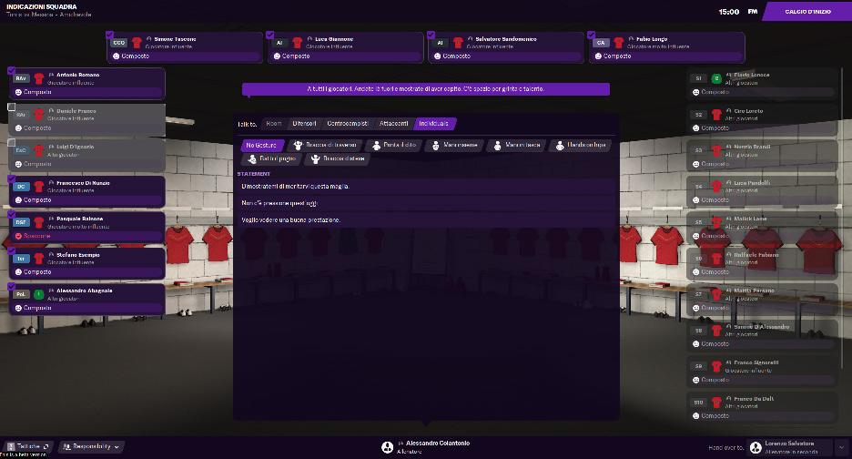 Discorso nello spogliatoio in Football Manager 2021