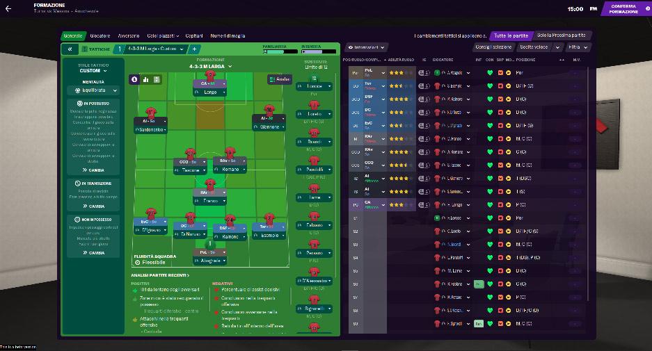 gestione tattica formazione football manager 2021 pc
