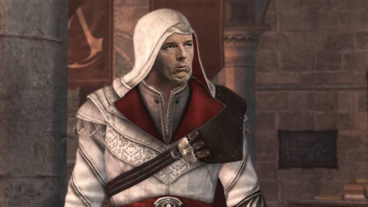 Il segretario di Italia Viva Matteo Renzi, con indosso il mantello di Ezio Auditore