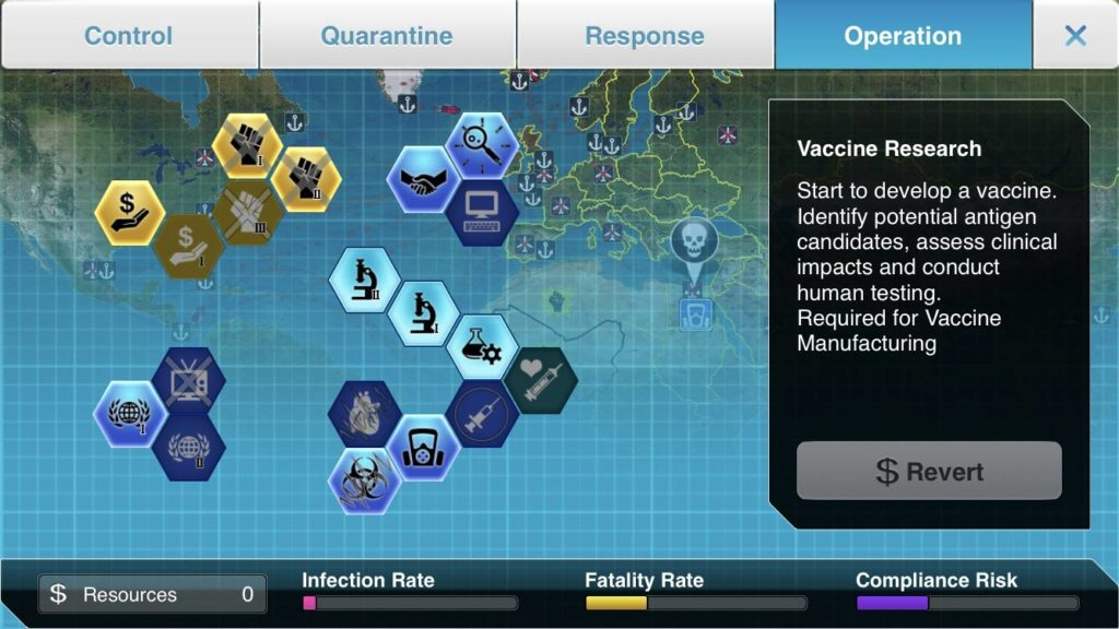 Schermata operativa di Plague Inc. - The Cure