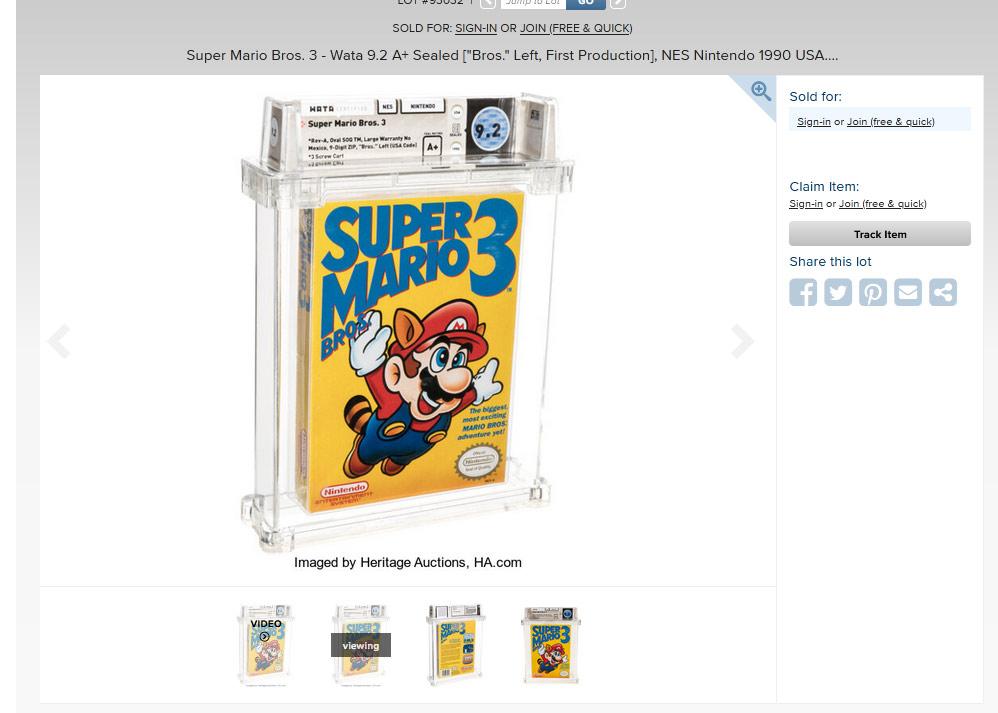 La copia più costosa di un videogioco mai venduta, Super mario Bros. 3 a 156.000 dollari