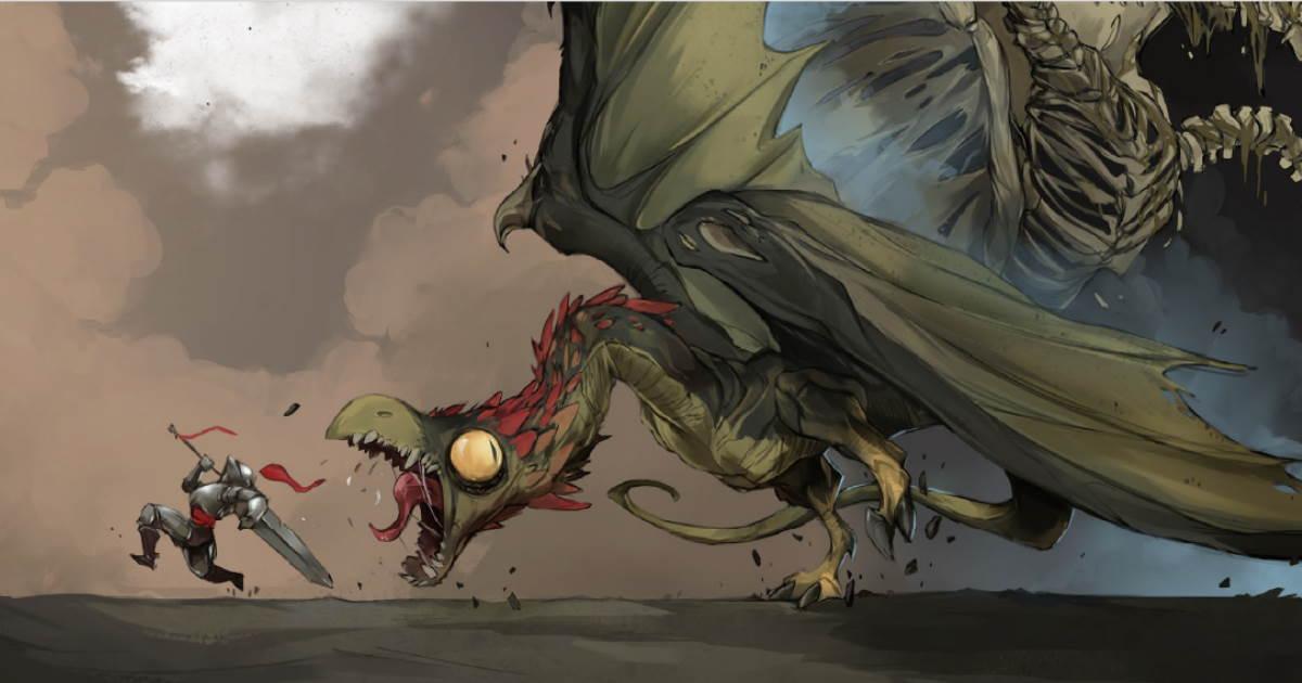 Illustrazione da Unglorious GdR, un avventuriero alle prese con una Viverna