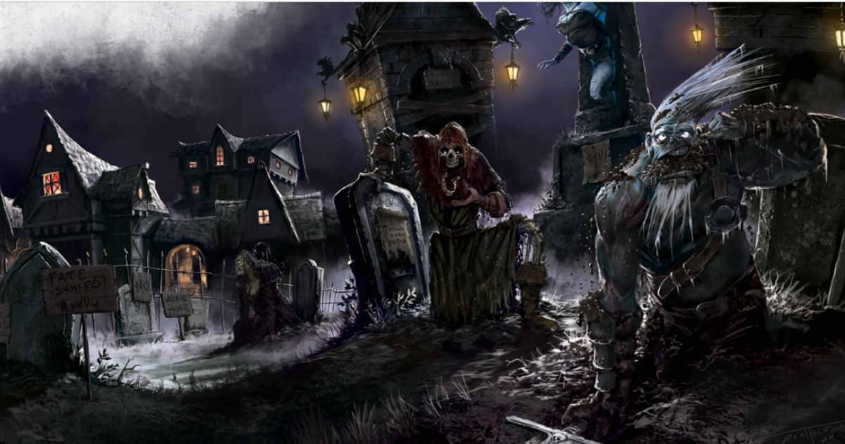 Ilustrazione da Unglorious GdR, i personaggi emergono dall'Orto