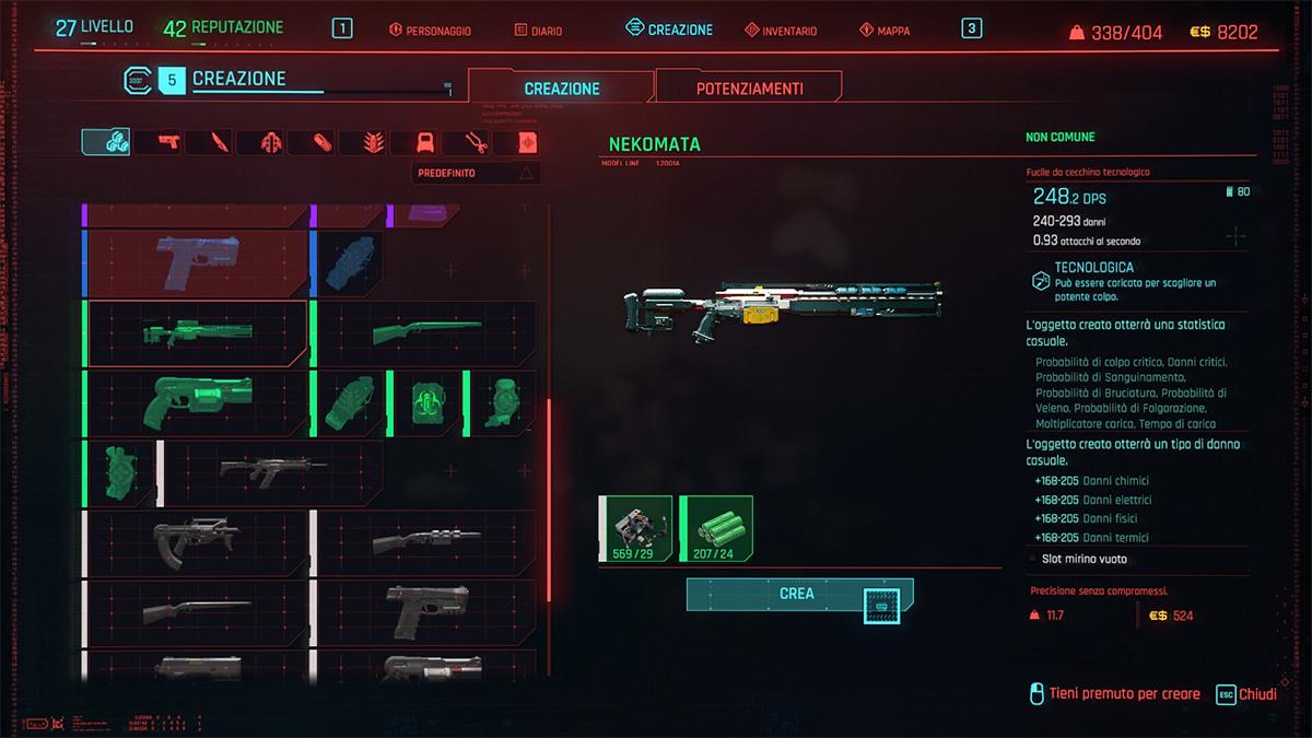Menu di Creazione di Cyberpunk 2077