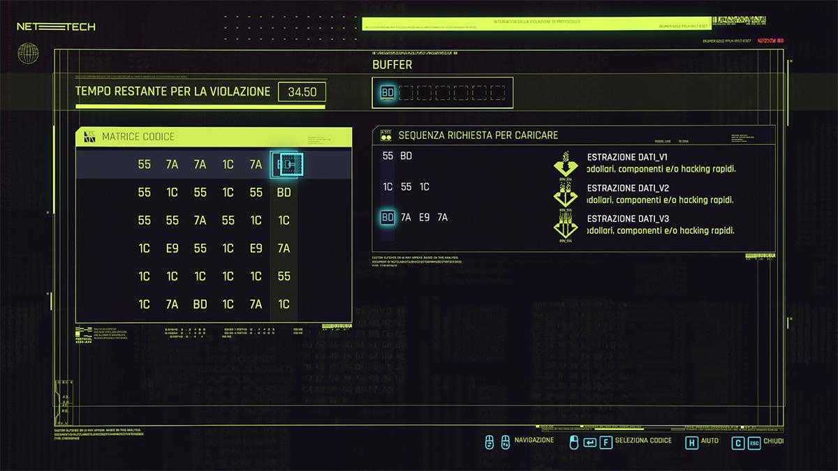 Puzzle degli hacking di Cyberpunk 2077
