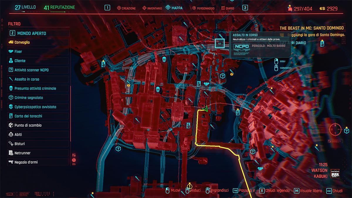Mappa del Mondo Aperto in Cyberpunk 2077