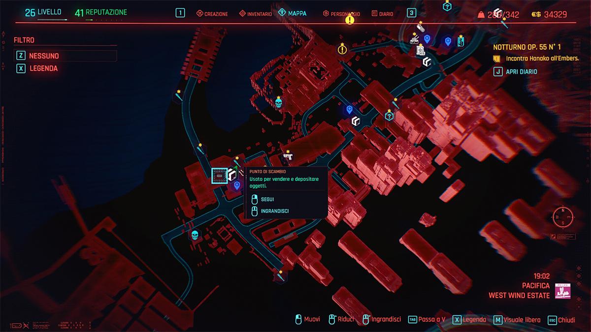 Mappa dei Punti di Scambio in Cyberpunk 2077