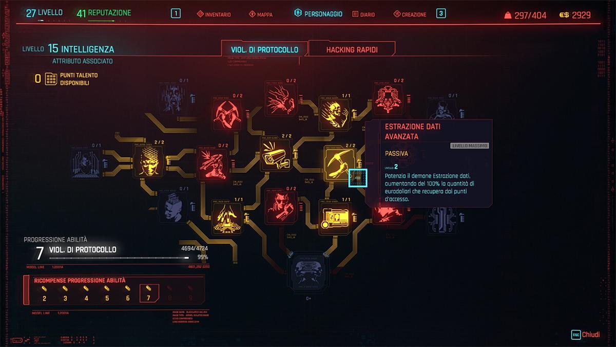 Albero dei Talenti dell'Intelligenza in Cyberpunk 2077