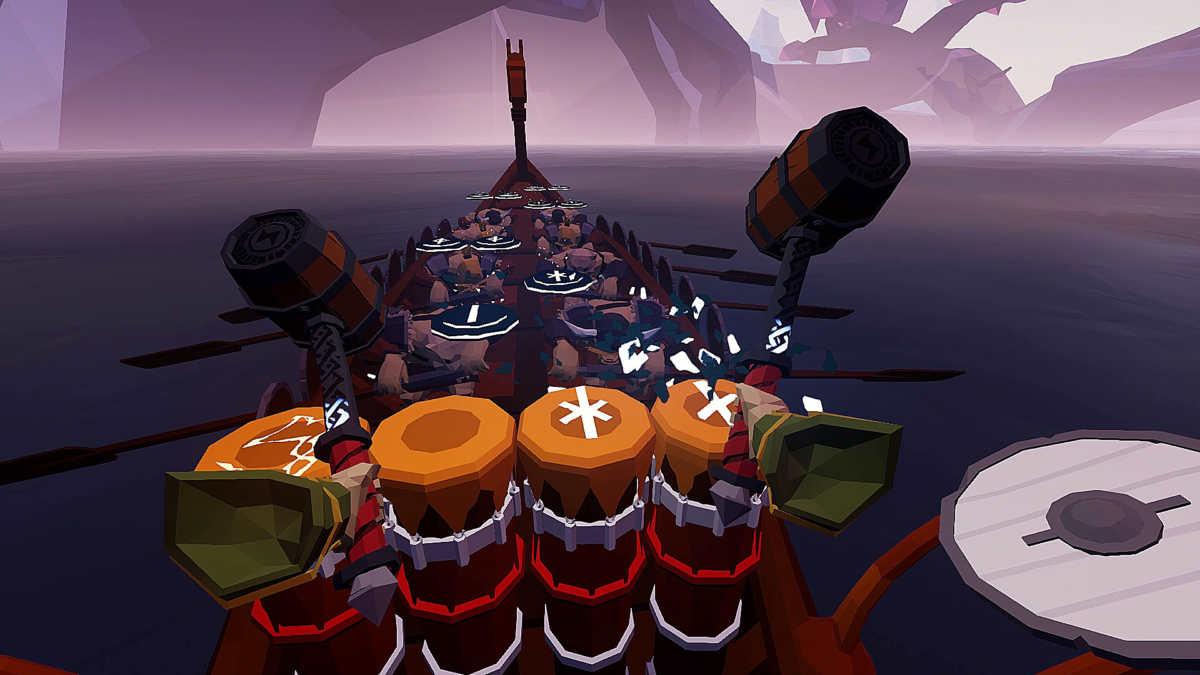 Screenshot di gioco di ragnarock, con la nave sotto, i tamburie le rune sopra