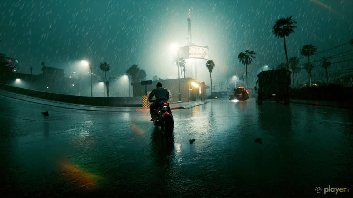 cyberpunk 2077 corsa in moto con pioggia ed esplosioni