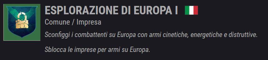 Descrizione dell'Impresa Esplorazione di Europa I in Destiny 2