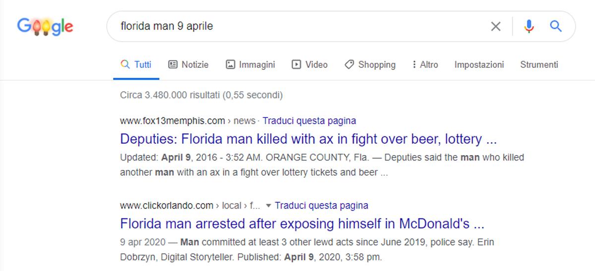 Risultati di Florida Man su Google