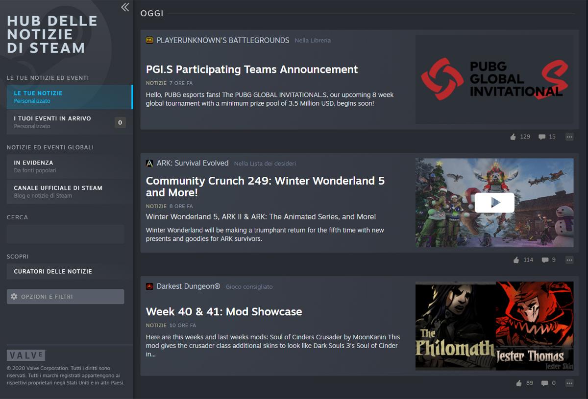 Interfaccia principale dell'Hub delle Notizie di Steam