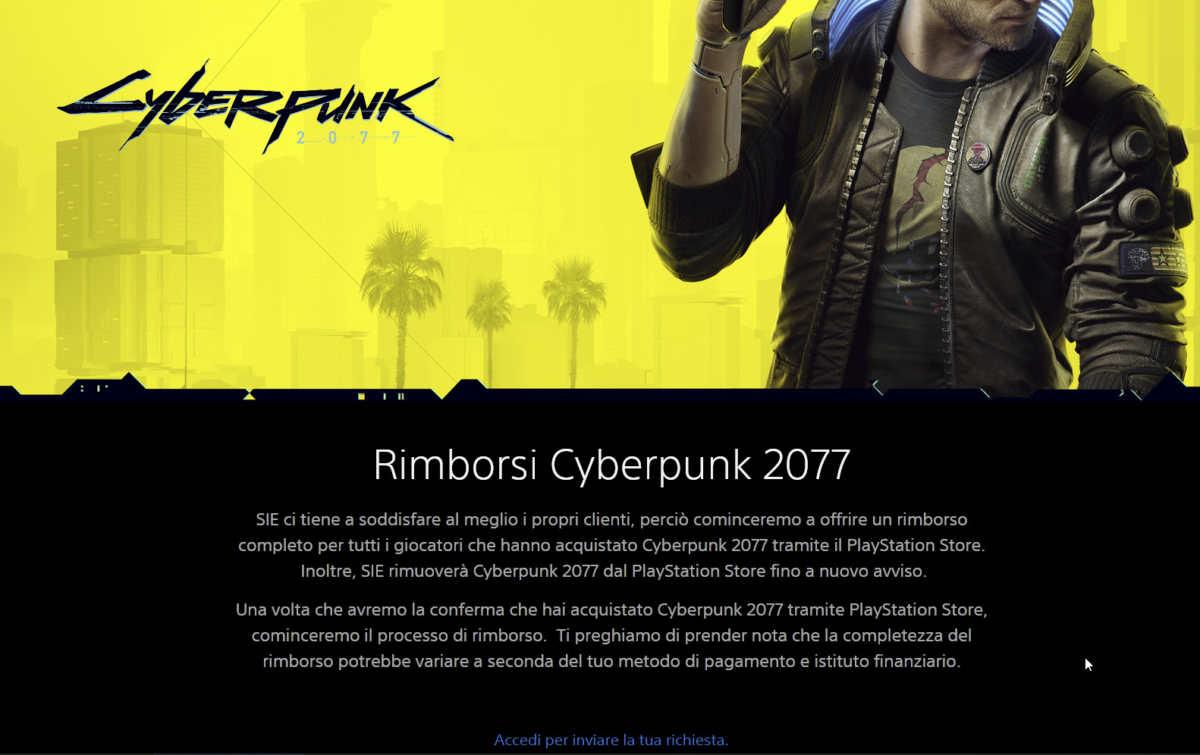 Rimborsi Cyberpunk 2077 su Sony