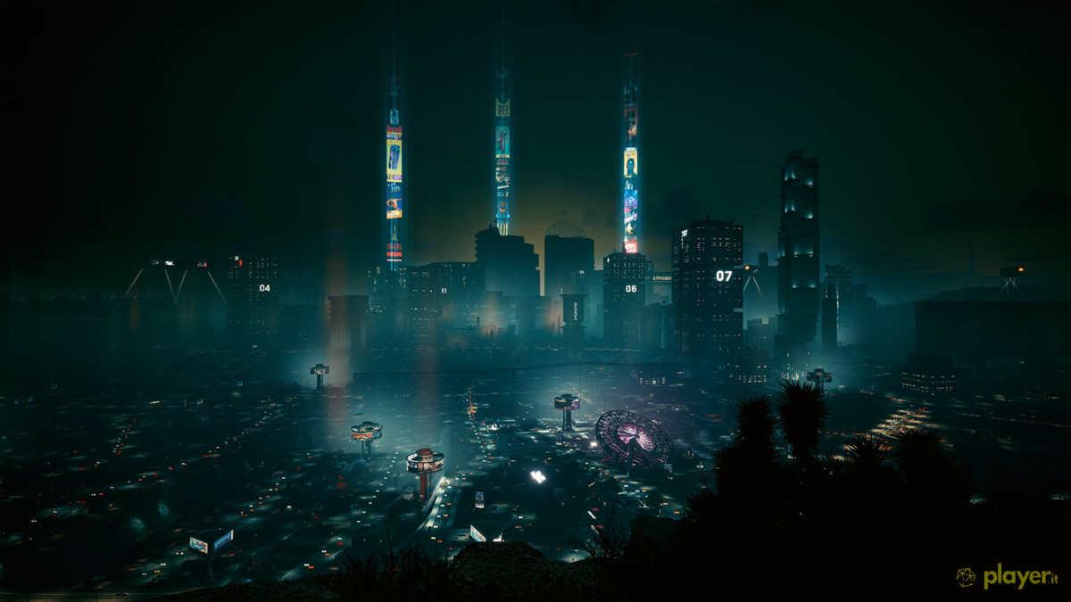 night city vista dall alto in cyberpunk 2077