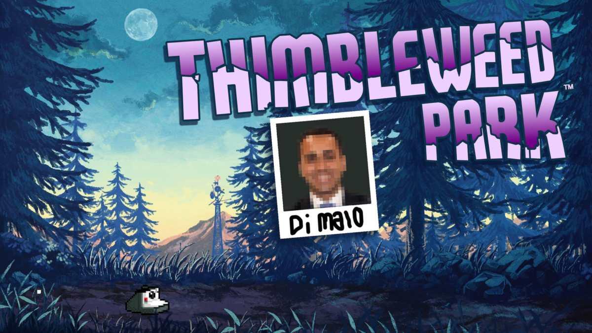 La cover del gioco Thimibleweed Park, con la foto in pixel art di Di Maio