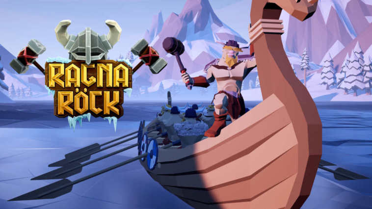 Copertina del gioco, con il logo a sinistra ed una nave vichinga a destra!