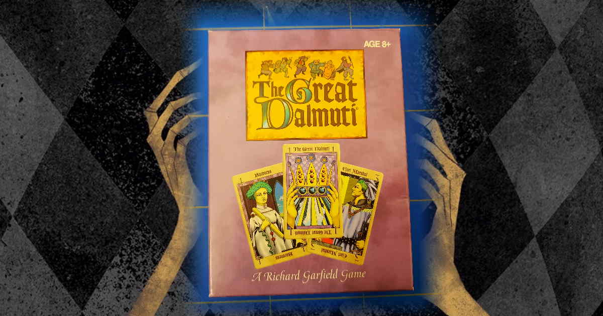 Il fronte della scatola di The Great Dalmuti, edizione del 1995.