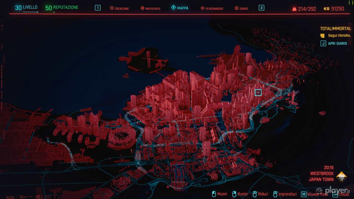 visuale mappa 3d night city