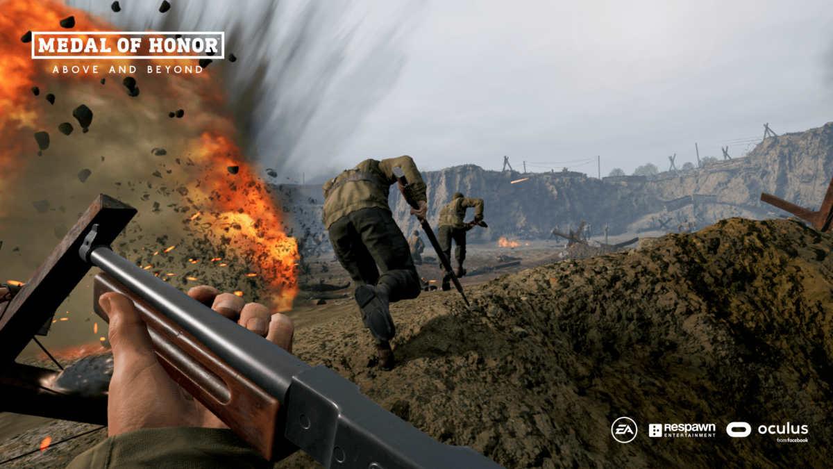 Soldati escono dalle trincee tra le esplosioni