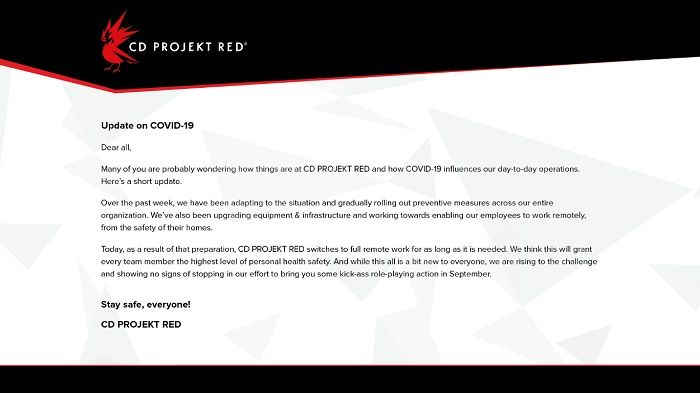 CD Projekt Red annuncia lo smart working totale.