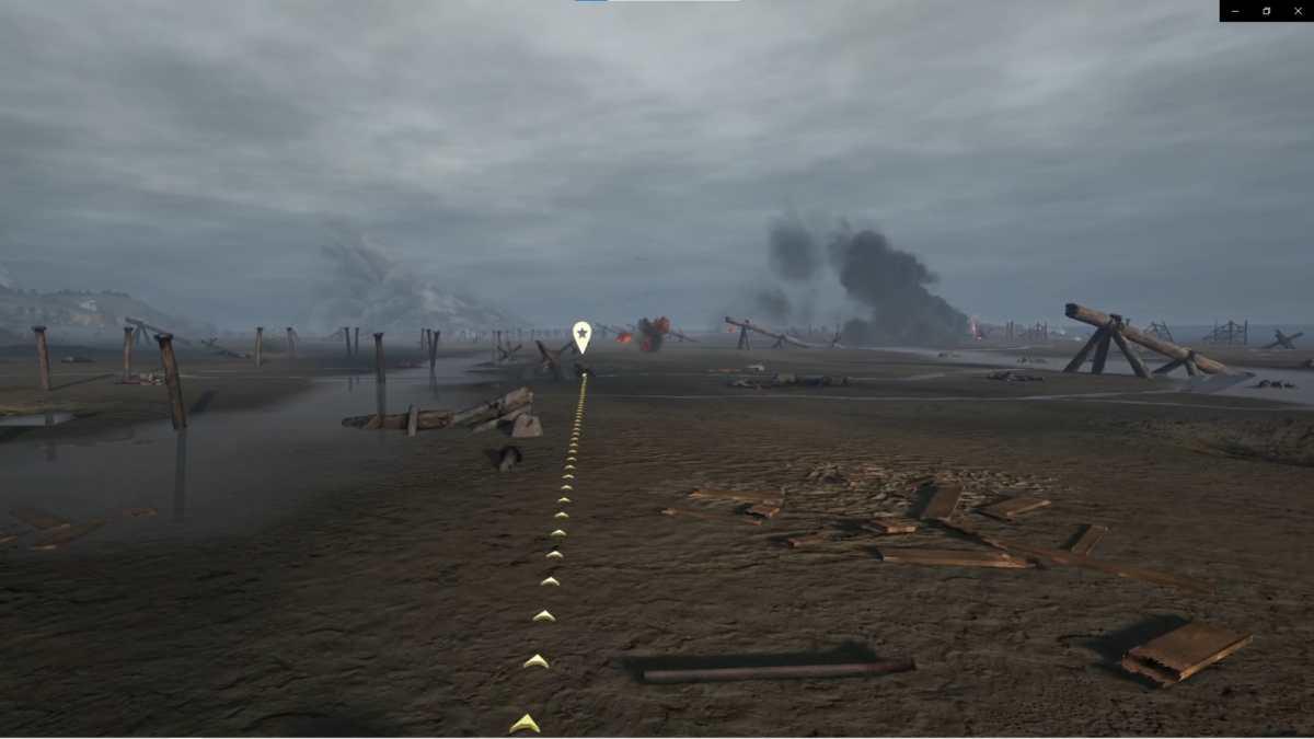 Soldato sulla spiaggia corre verso il riparo
