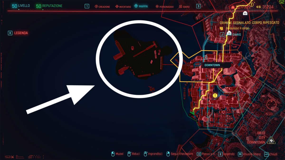 mappa night city base lunare